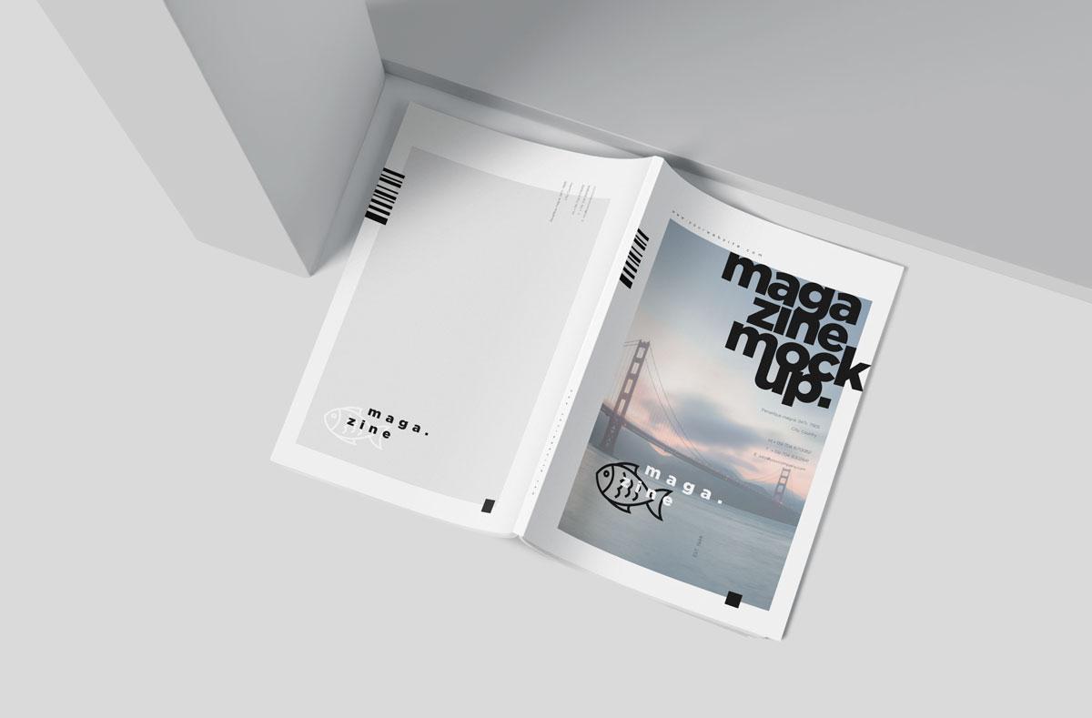 时尚A5杂志宣传画册设计效果图样机模板 A5 Slim Fashion Magazine Mockup Set插图(3)
