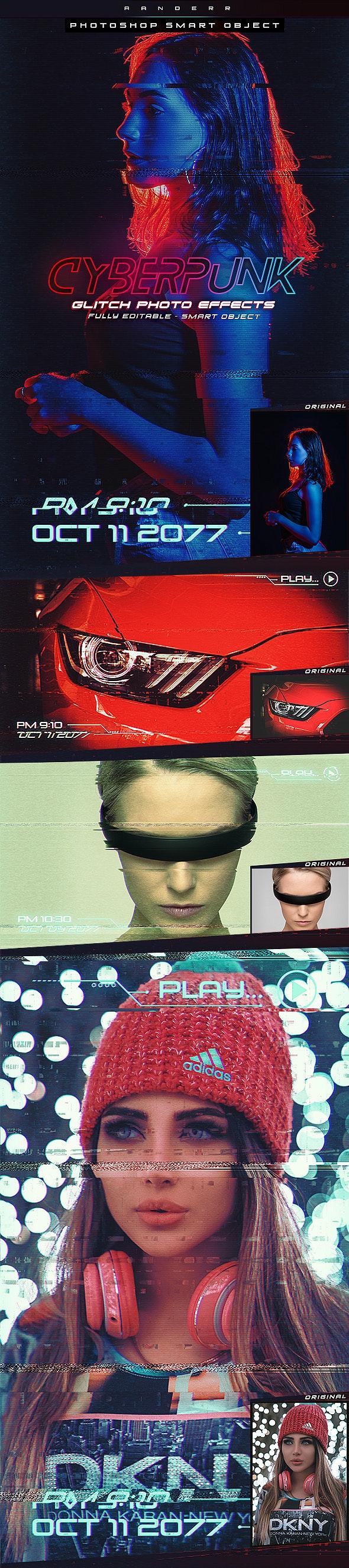 摄影照片赛博朋克故障后期处理效果PS模板 Cyberpunk Glitch Photo Effects插图
