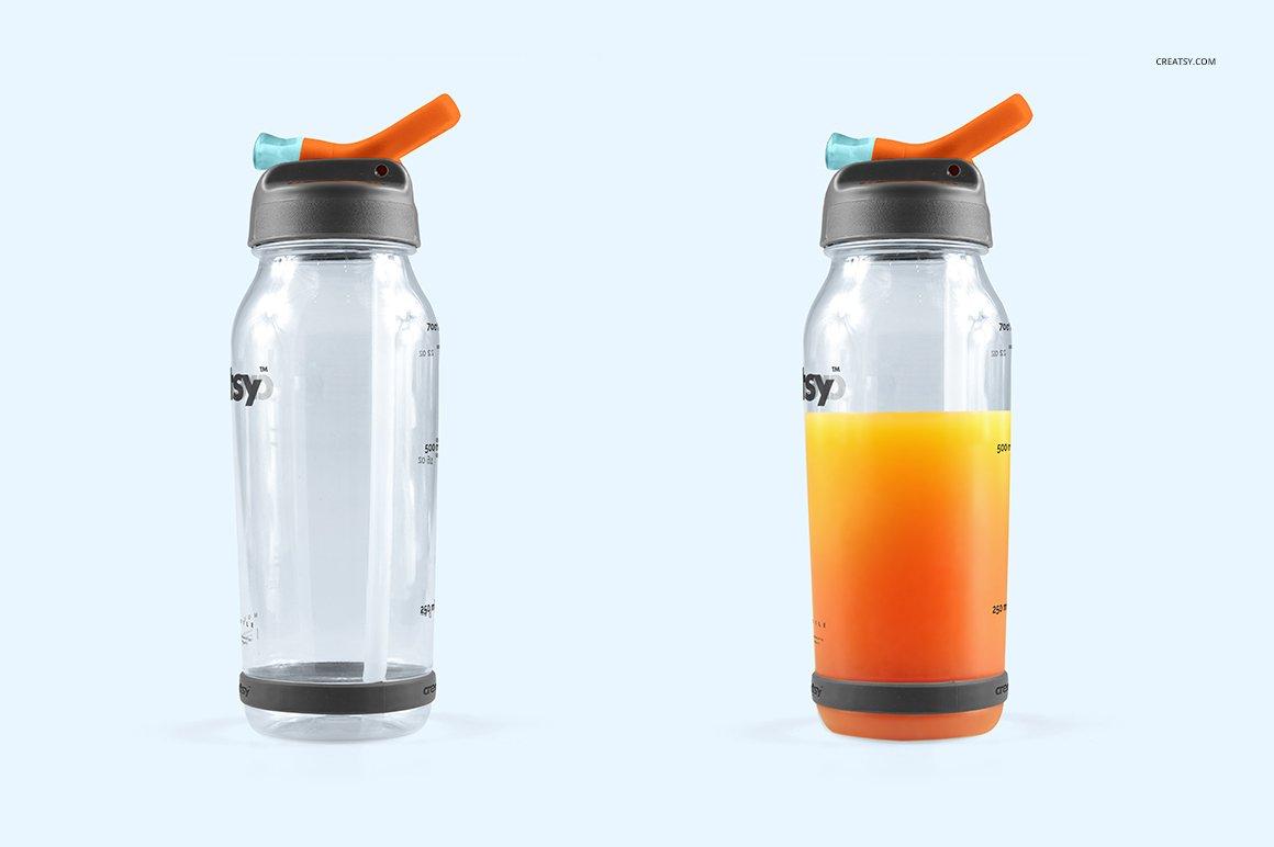 顶部翻转透明塑料水瓶外观设计效果图样机模板 Flip Top Clear Water Bottle Mockup插图(6)