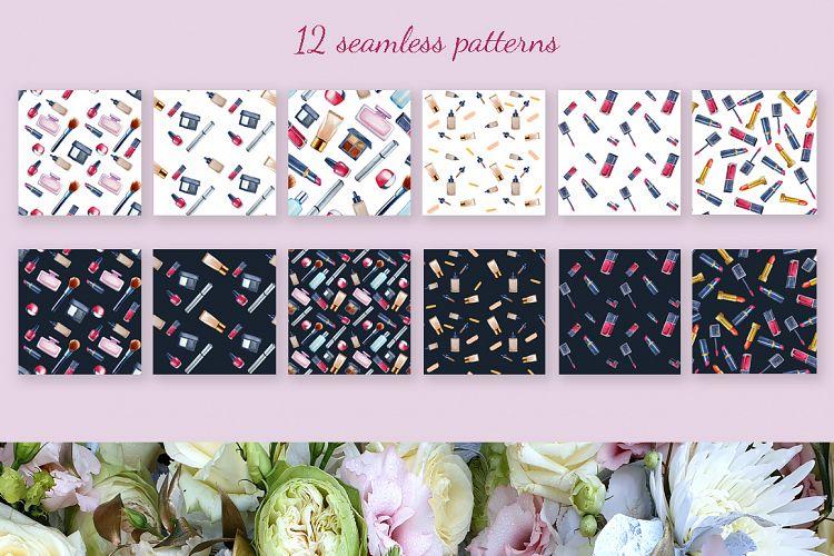美容化妆主题手绘水彩剪贴画设计素材套装 Watercolor Make Up Set, Beauty Clip Art插图(6)