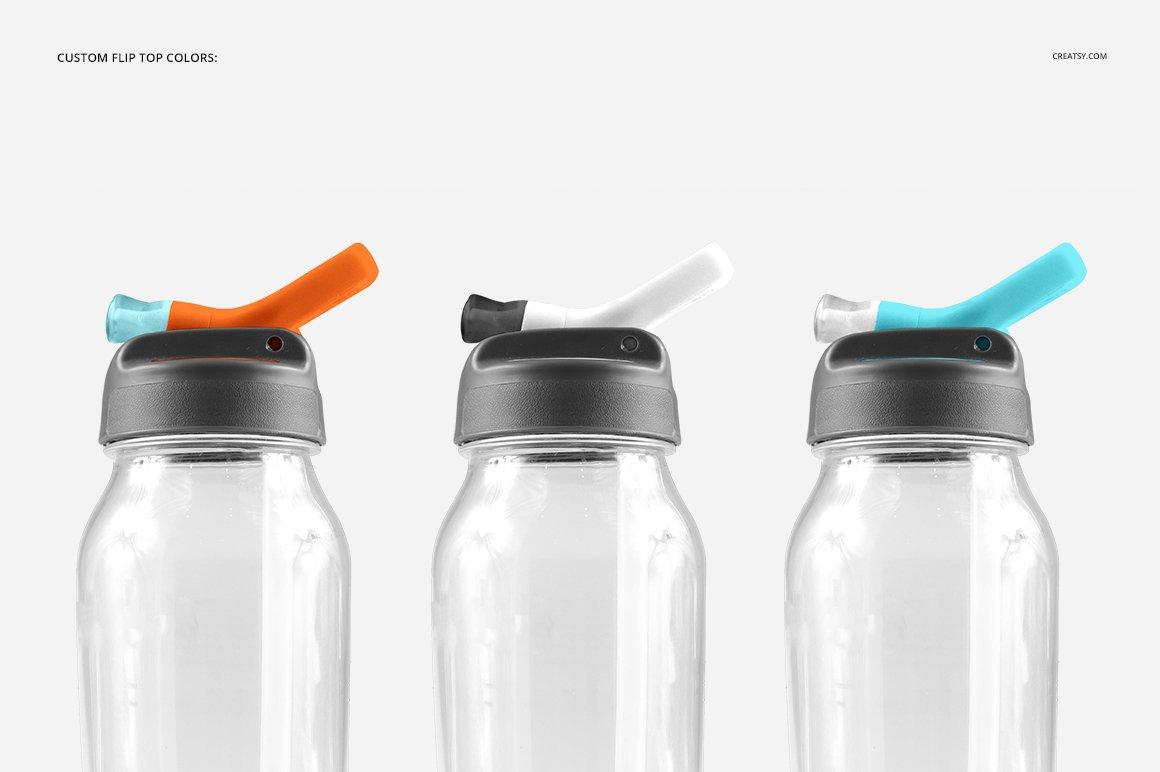 顶部翻转透明塑料水瓶外观设计效果图样机模板 Flip Top Clear Water Bottle Mockup插图(7)