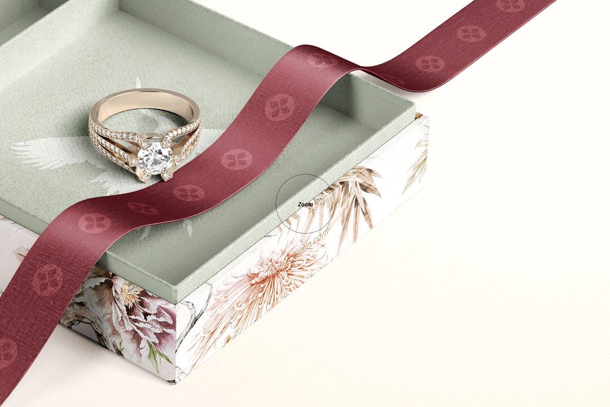 精美高端珠宝盒外观设计效果图样机模板01 Jewelry Box Mockup Set 01插图(7)