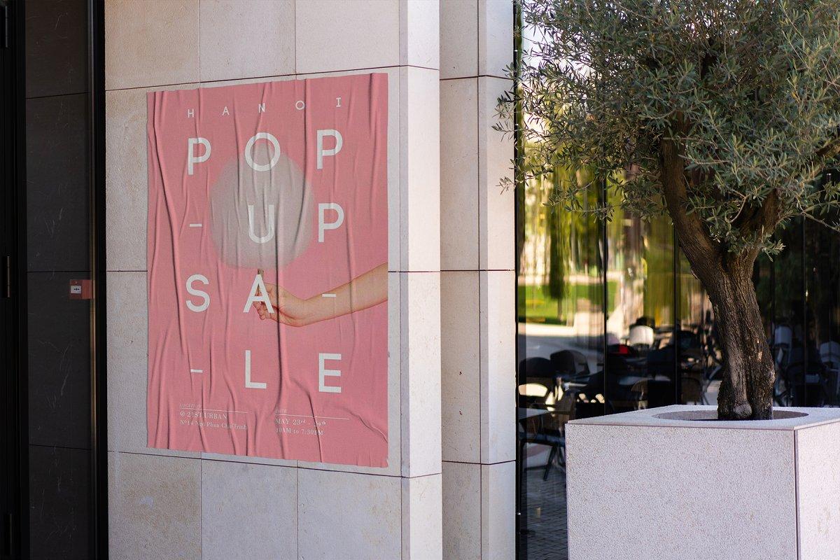 户外墙贴海报传单设计效果图样机模板 Outside Poster Mockup's插图(10)