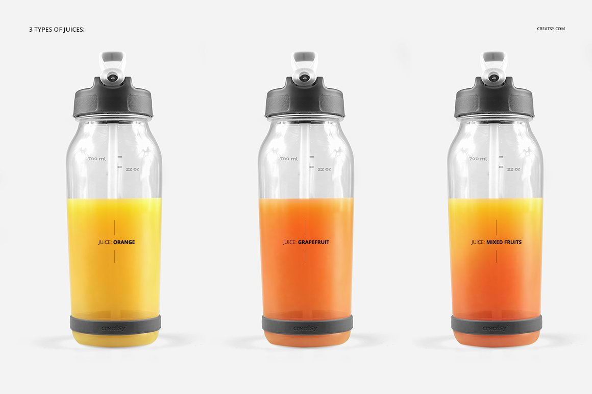 顶部翻转透明塑料水瓶外观设计效果图样机模板 Flip Top Clear Water Bottle Mockup插图(9)