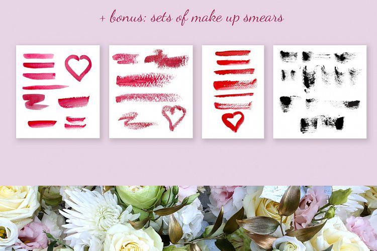 美容化妆主题手绘水彩剪贴画设计素材套装 Watercolor Make Up Set, Beauty Clip Art插图(8)