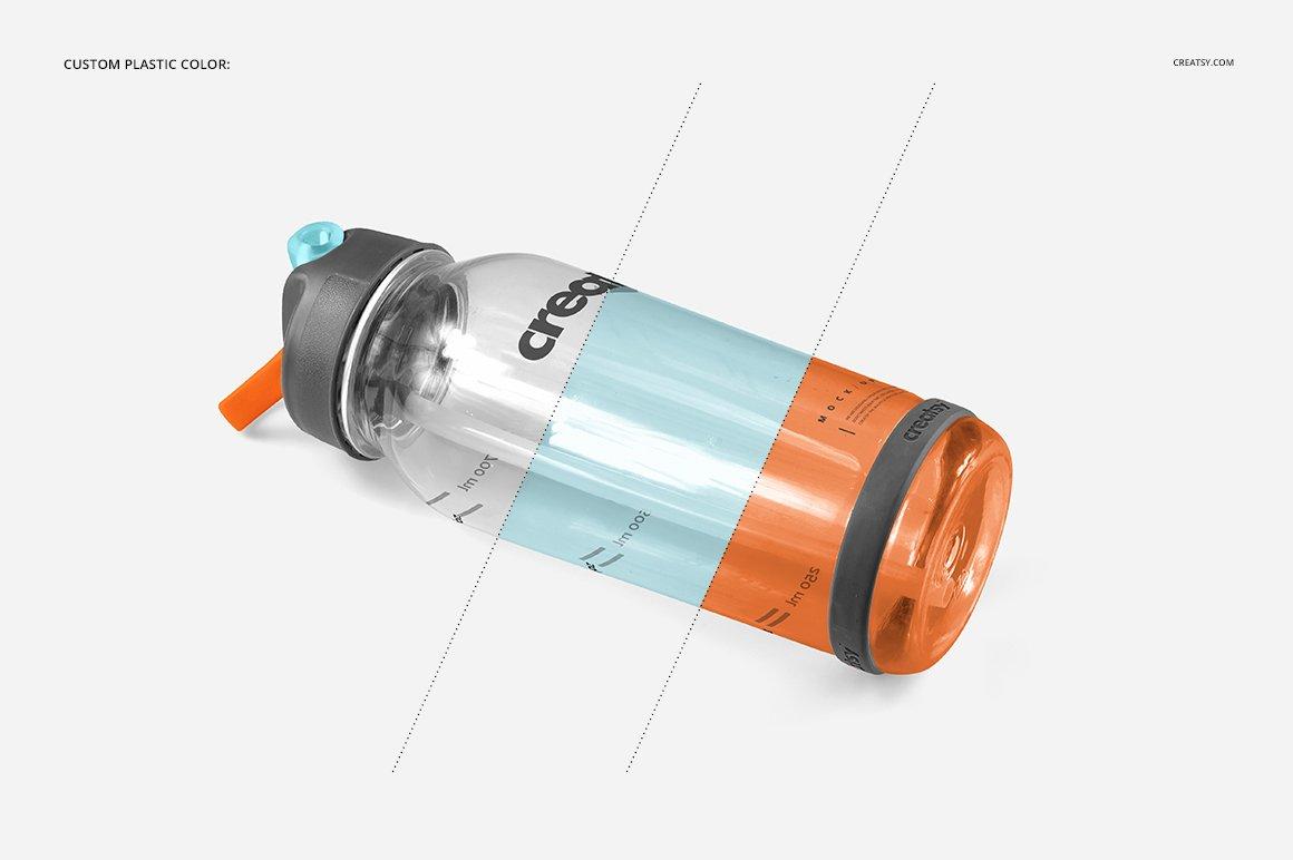 顶部翻转透明塑料水瓶外观设计效果图样机模板 Flip Top Clear Water Bottle Mockup插图(8)