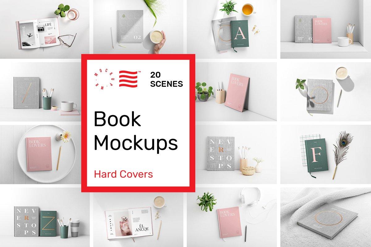 逼真精装书籍画册封面设计展示图样机模板 Book Cover Mockups – Hardcover Book插图