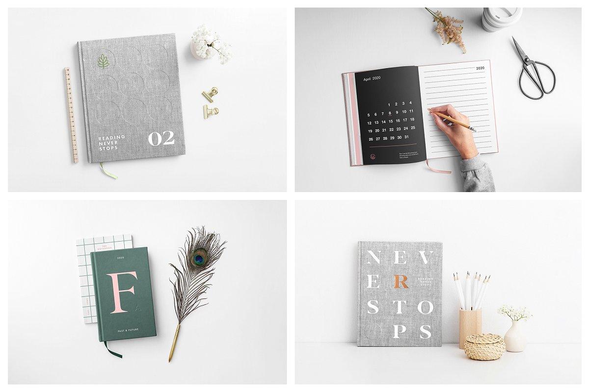 逼真精装书籍画册封面设计展示图样机模板 Book Cover Mockups – Hardcover Book插图(2)