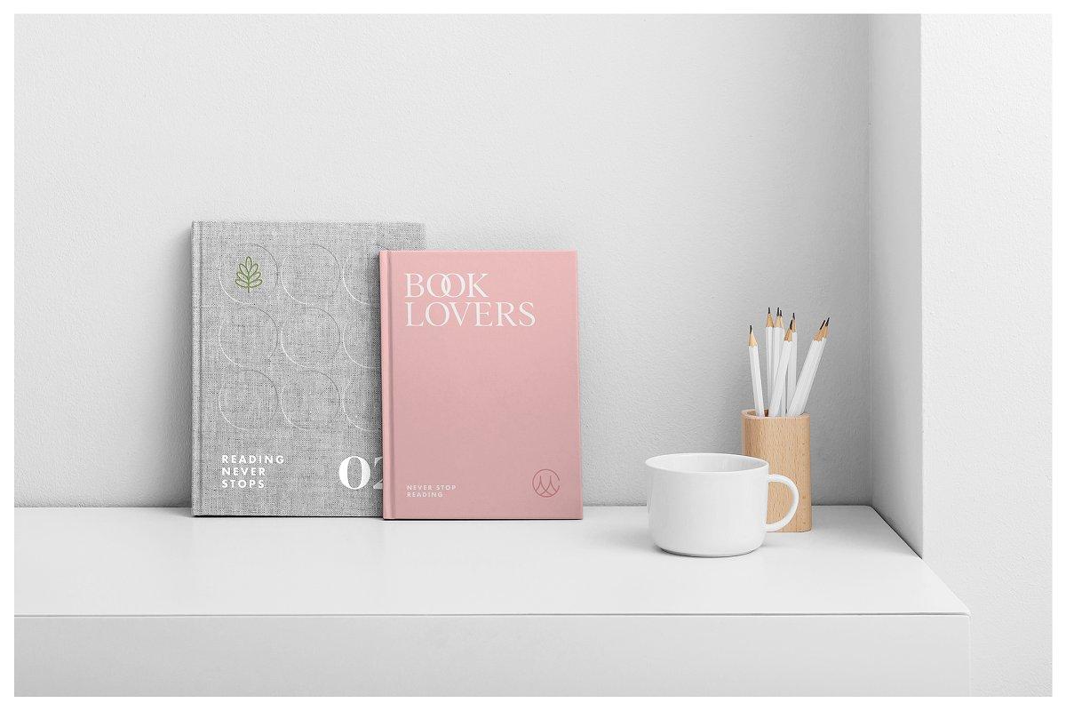 逼真精装书籍画册封面设计展示图样机模板 Book Cover Mockups – Hardcover Book插图(7)
