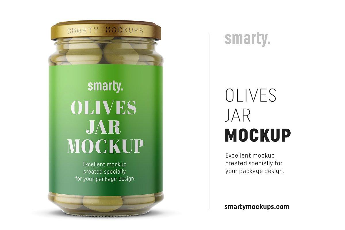 橄榄果罐头玻璃瓶外观设计样机模板 Olives Jar Mockup插图