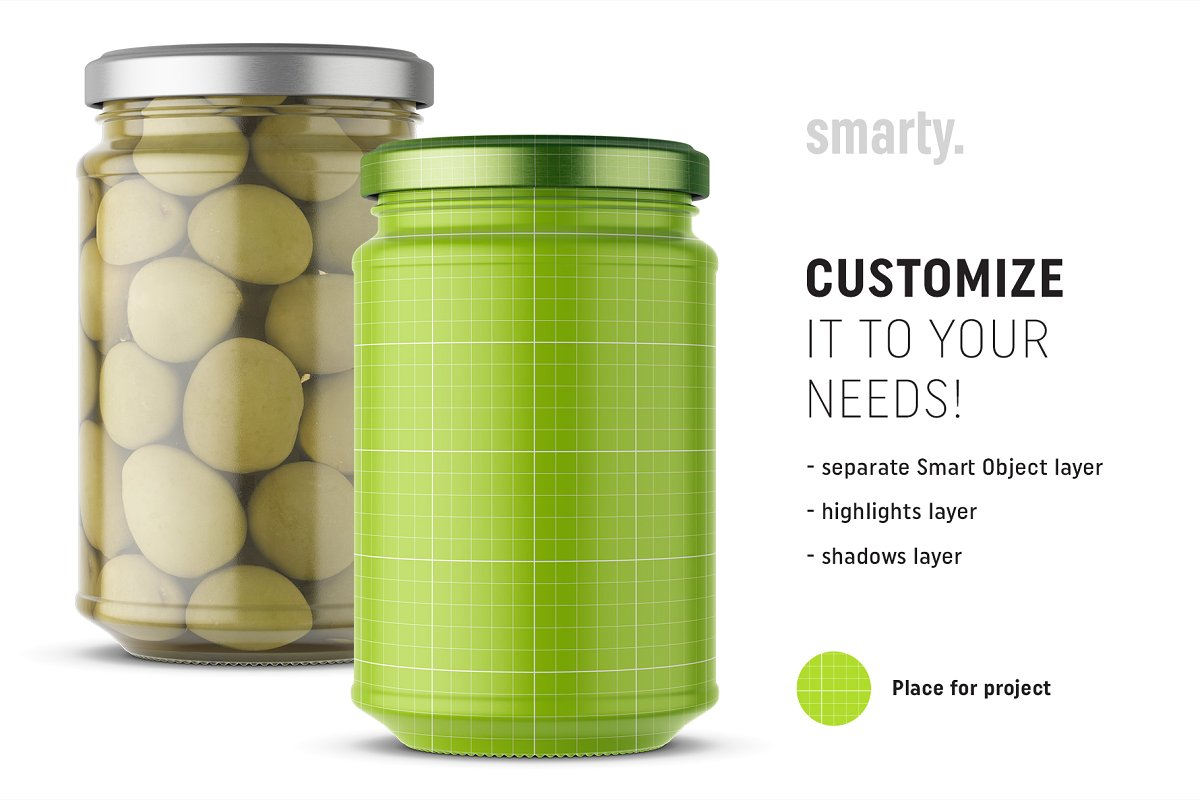 橄榄果罐头玻璃瓶外观设计样机模板 Olives Jar Mockup插图(1)