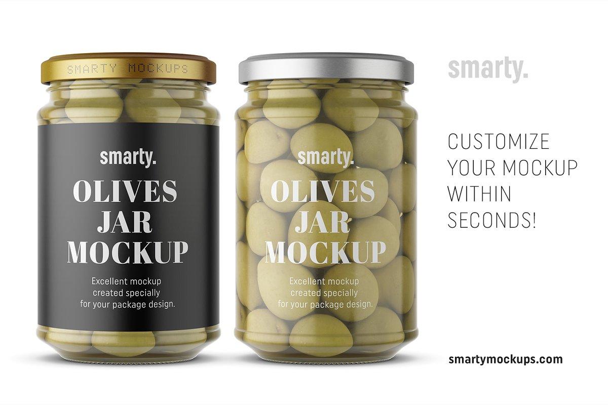 橄榄果罐头玻璃瓶外观设计样机模板 Olives Jar Mockup插图(2)