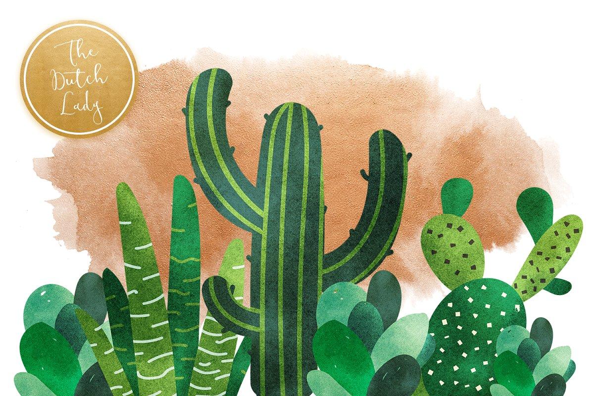 高品质仙人掌&多肉水彩剪贴画套装 Cacti & Succulent Clipart Set插图(2)