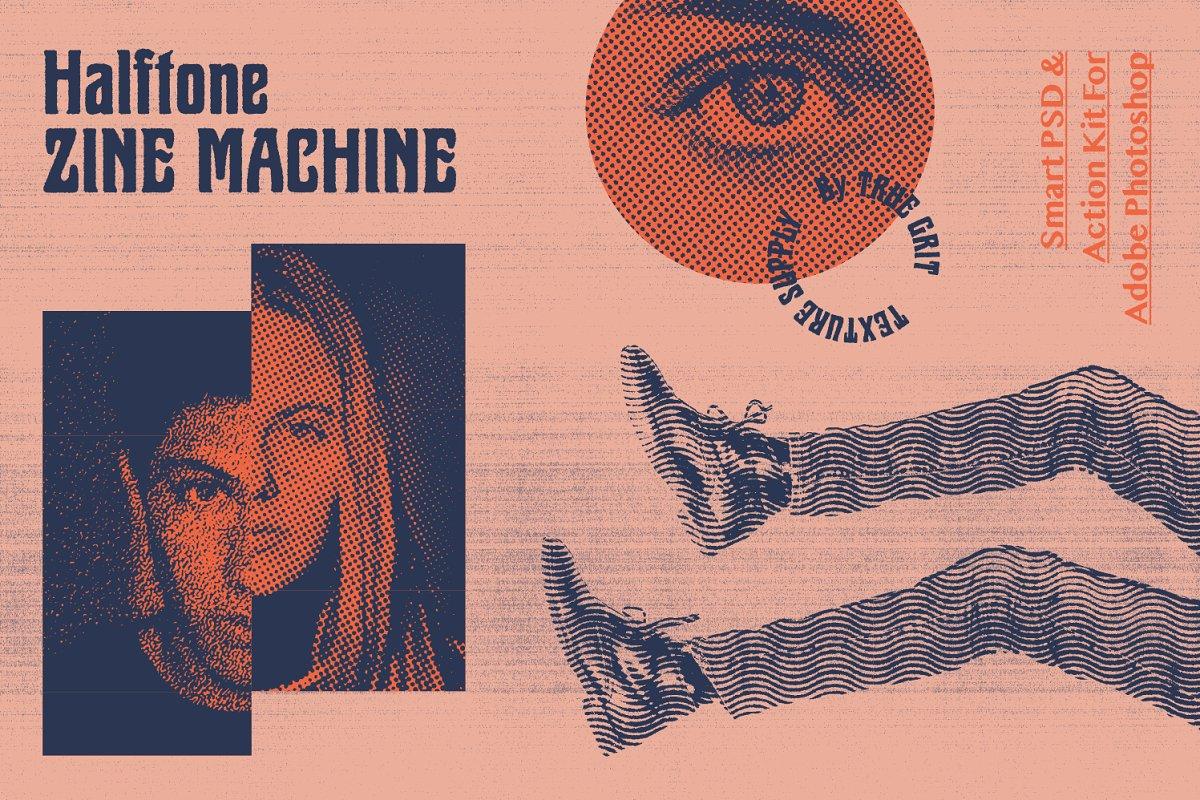 90年代复古摄影照片半色调后期处理效果PS动作 Halftone Zine Machine PSD + Action插图