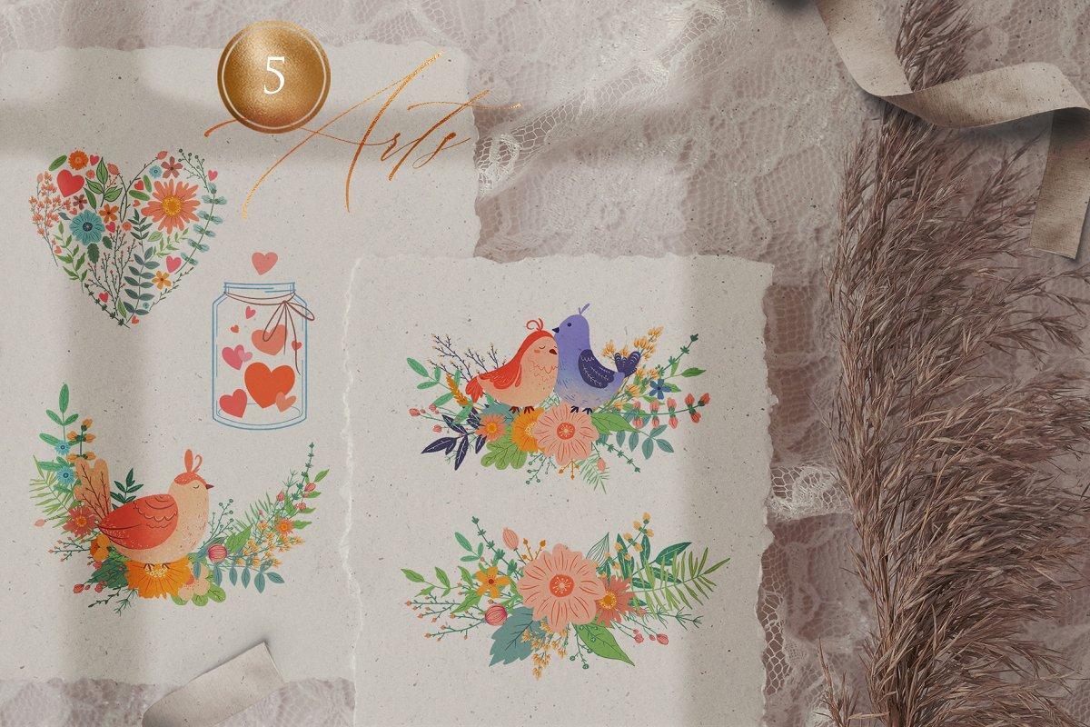浪漫情人节花卉&小鸟手绘剪贴画套装 Valentine's Day Romantic Set插图(2)