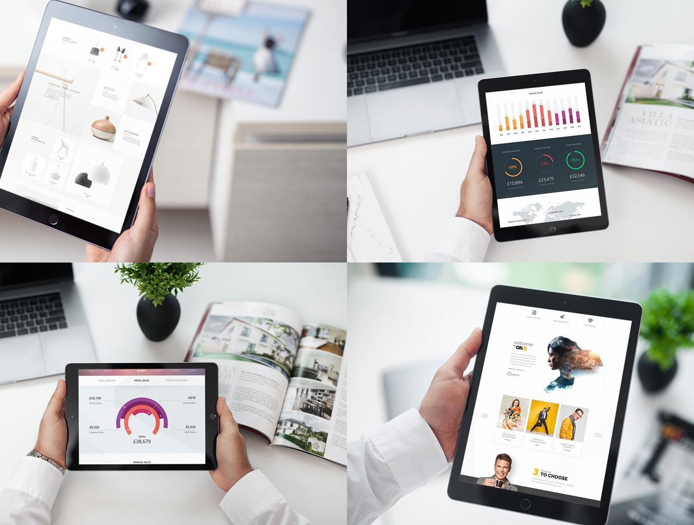 12个响应式网页设计预览iPad平板电脑样机模板 12 New iPad Responsive插图(1)