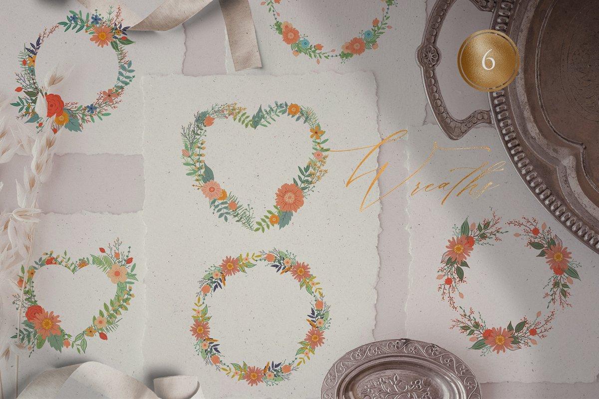 浪漫情人节花卉&小鸟手绘剪贴画套装 Valentine's Day Romantic Set插图(3)