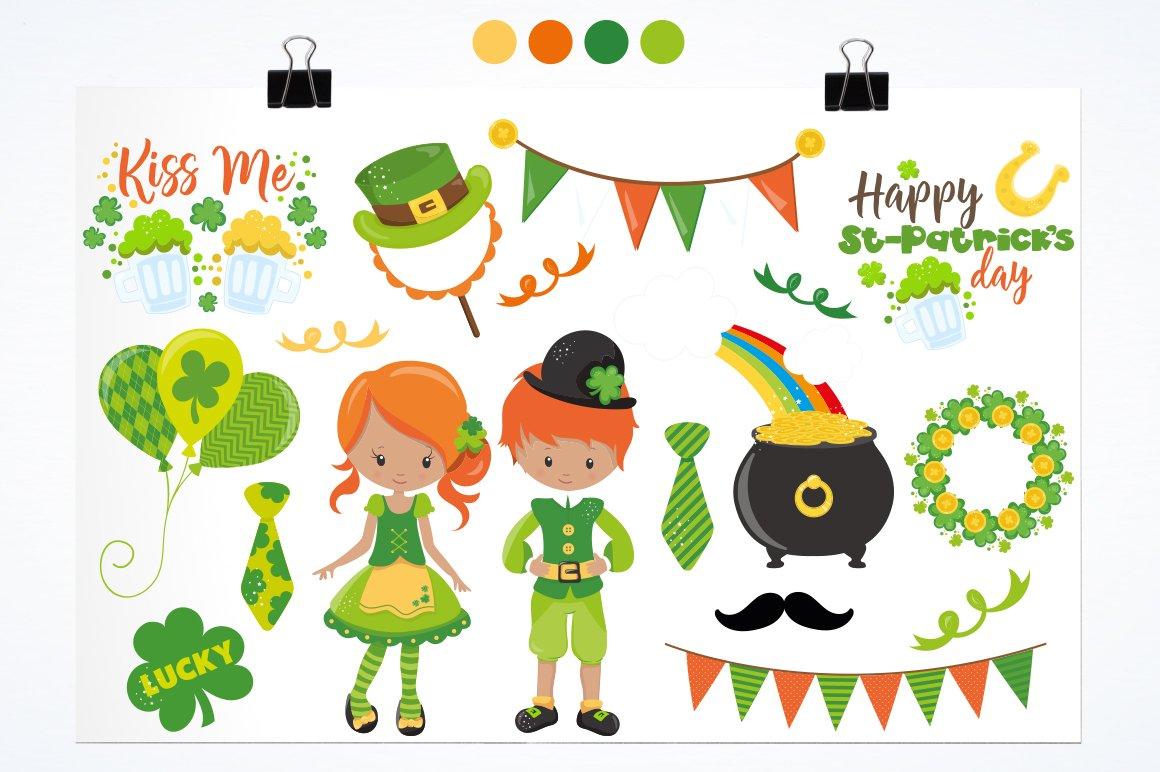 有趣手绘圣帕特里克节情人节剪贴画设计素材 Love, St Patrick's Day插图(1)