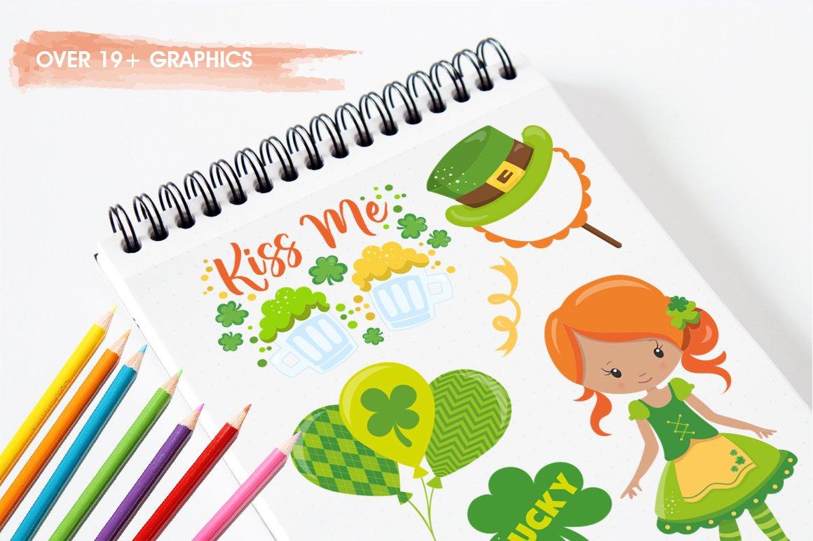 有趣手绘圣帕特里克节情人节剪贴画设计素材 Love, St Patrick's Day插图(2)