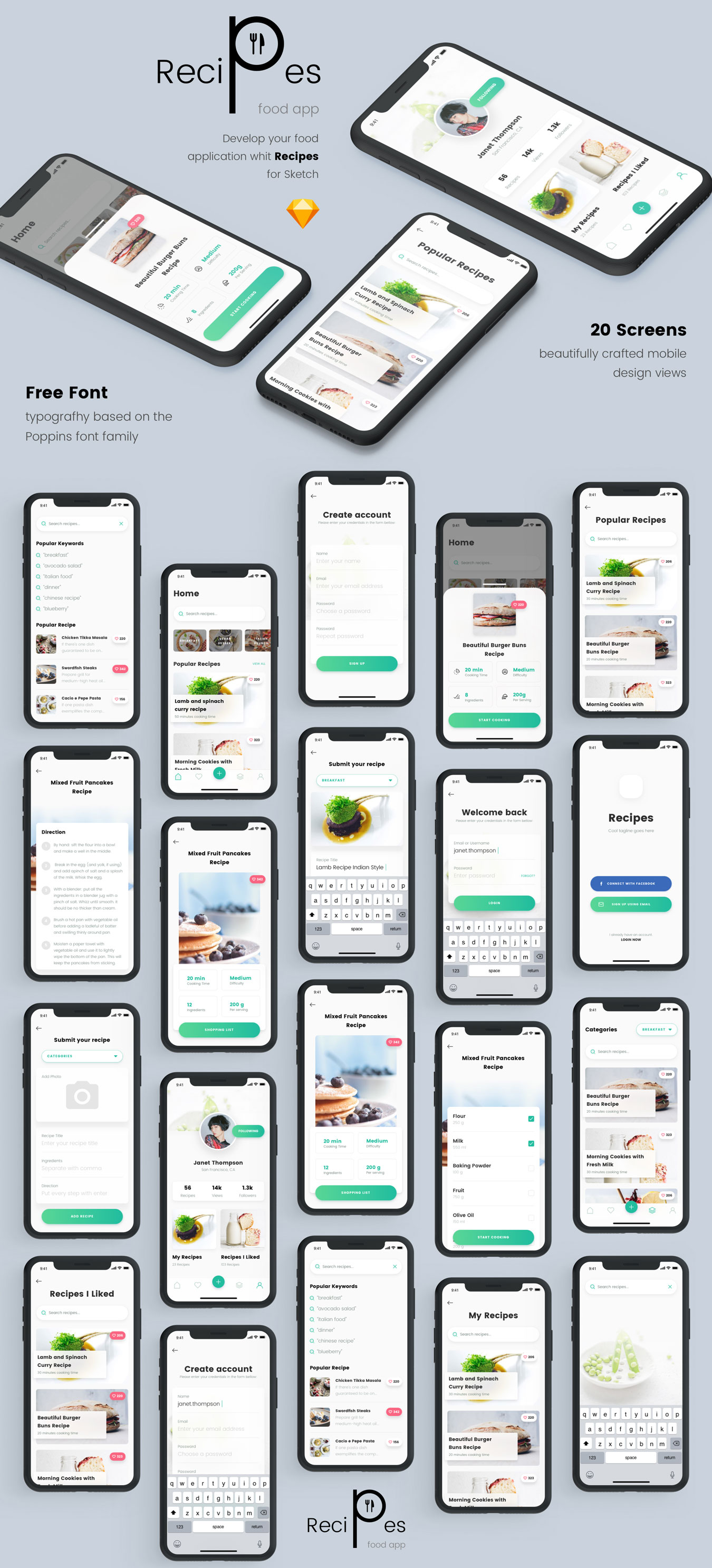 精美食谱食品APP应用程序UI界面设计模板 Recipes Food App插图(4)