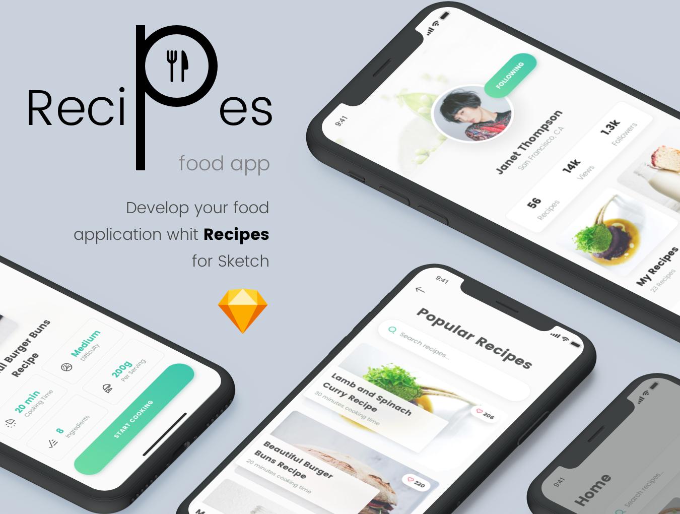 精美食谱食品APP应用程序UI界面设计模板 Recipes Food App插图