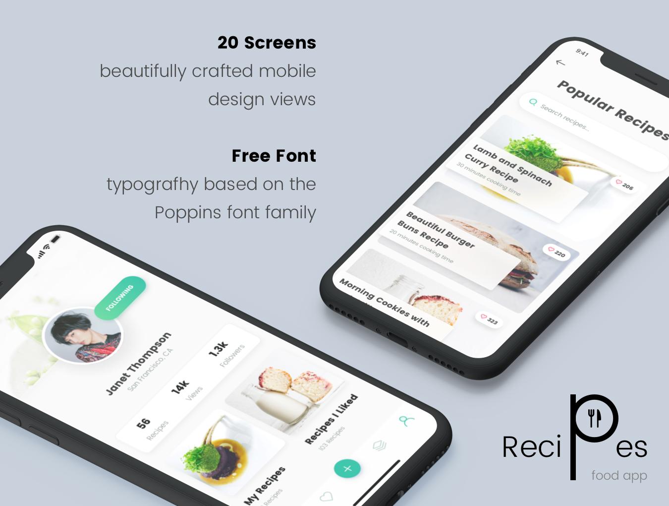精美食谱食品APP应用程序UI界面设计模板 Recipes Food App插图(1)