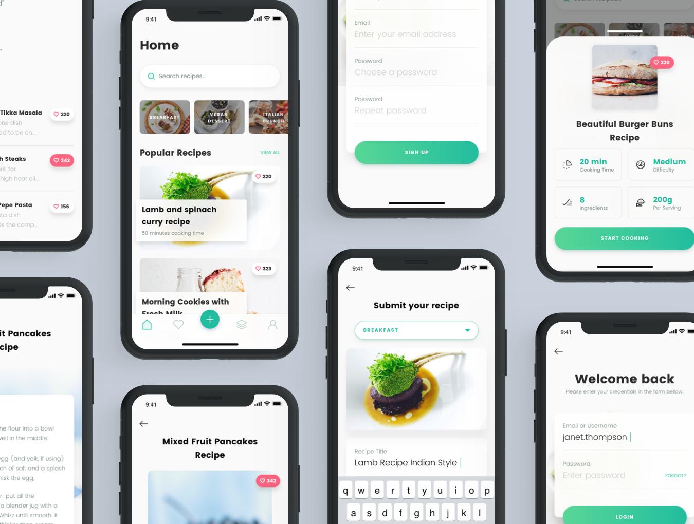 精美食谱食品APP应用程序UI界面设计模板 Recipes Food App插图(2)