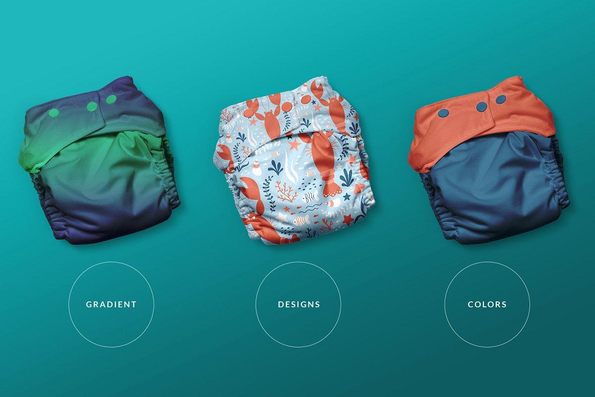 逼真婴儿尿不湿设计预览图样机模板 Reusable Cloth Diaper Mockup插图(1)