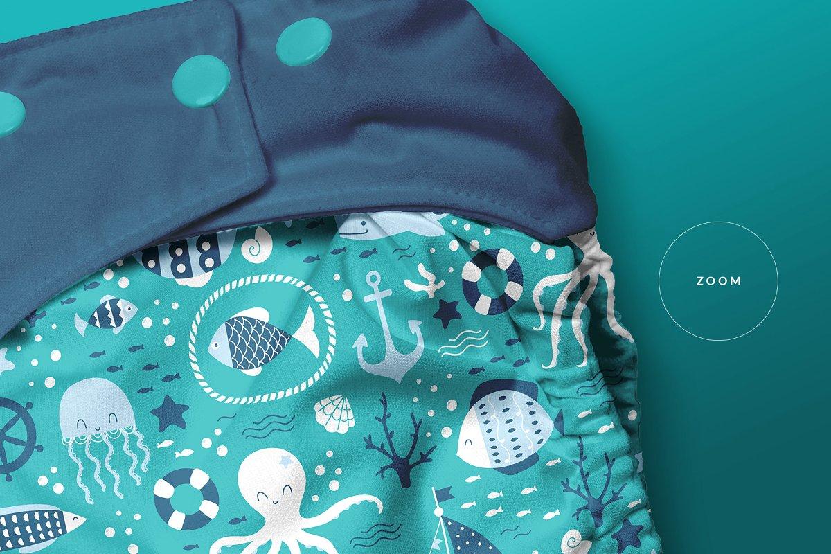 逼真婴儿尿不湿设计预览图样机模板 Reusable Cloth Diaper Mockup插图(3)