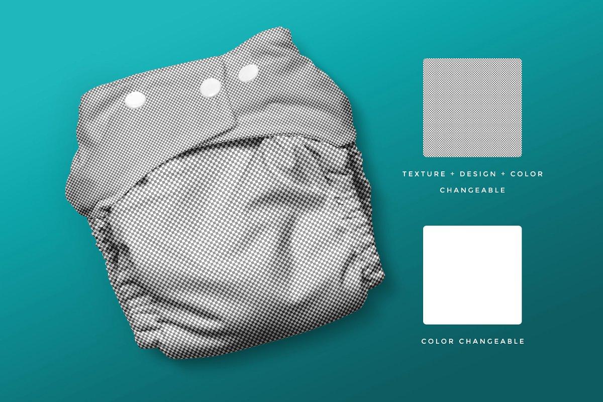逼真婴儿尿不湿设计预览图样机模板 Reusable Cloth Diaper Mockup插图(5)