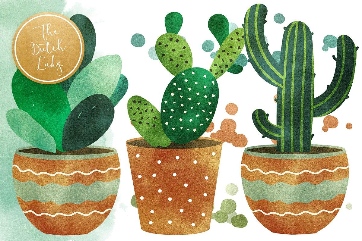 高品质仙人掌&多肉水彩剪贴画套装 Cacti & Succulent Clipart Set插图(4)