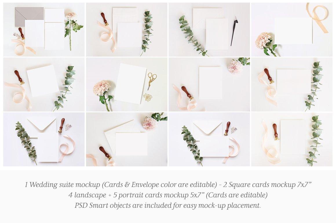 婚礼贺卡邀请函文具设计展示图样机模板套装 Wedding Stationery Mockup Bundle插图(1)