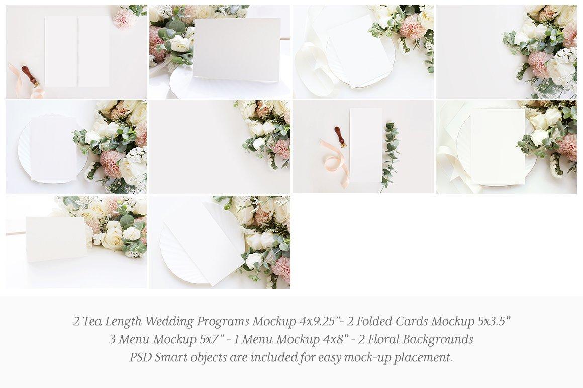 婚礼贺卡邀请函文具设计展示图样机模板套装 Wedding Stationery Mockup Bundle插图(2)