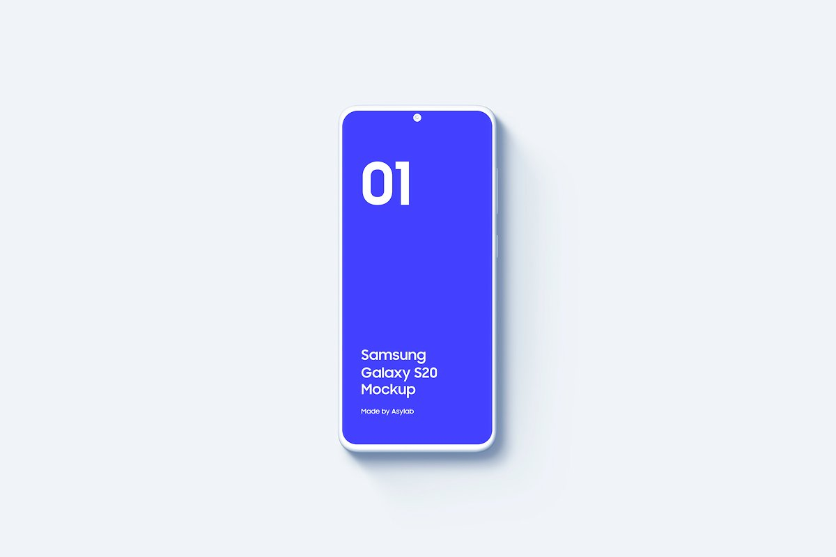 20个陶瓷粘土三星Galaxy S20手机屏幕演示PSD样机模板 Galaxy S20 – 20 Mockups Clay Scenes插图(15)