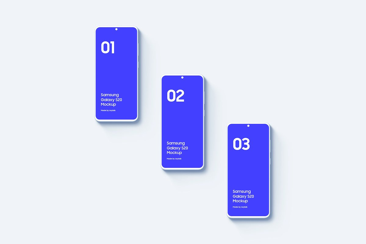 20个陶瓷粘土三星Galaxy S20手机屏幕演示PSD样机模板 Galaxy S20 – 20 Mockups Clay Scenes插图(17)