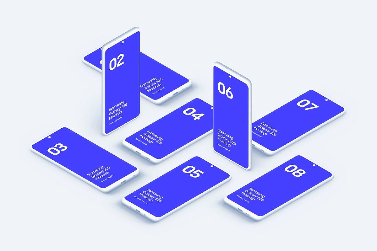 20个陶瓷粘土三星Galaxy S20手机屏幕演示PSD样机模板 Galaxy S20 – 20 Mockups Clay Scenes插图(27)
