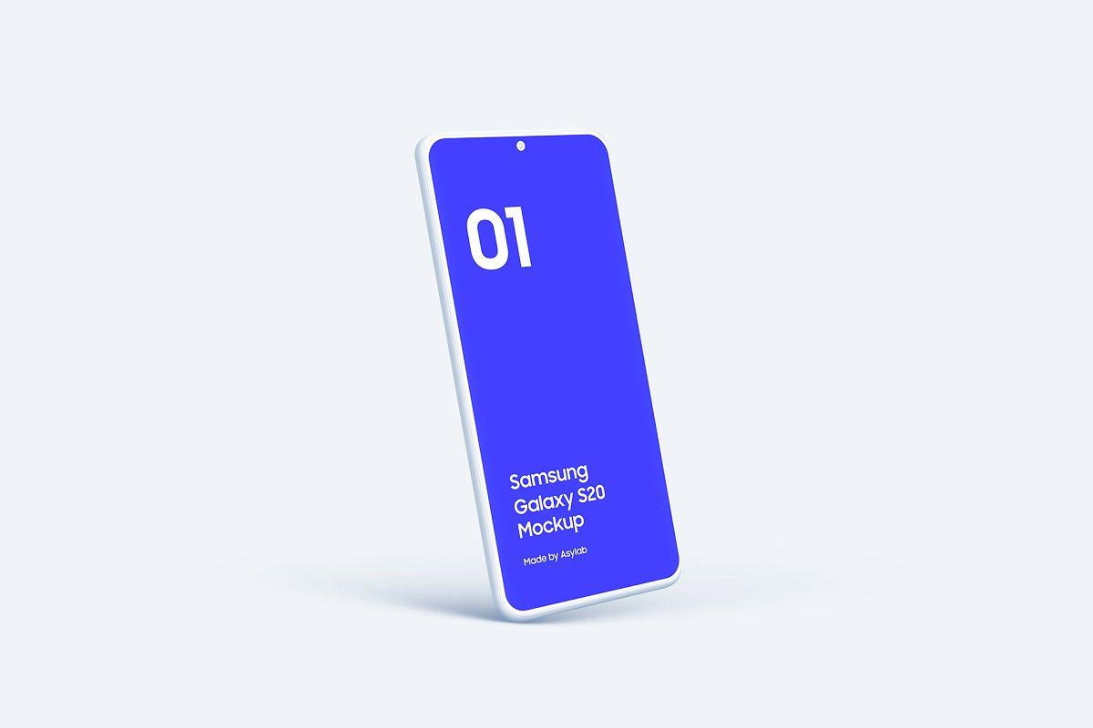 20个陶瓷粘土三星Galaxy S20手机屏幕演示PSD样机模板 Galaxy S20 – 20 Mockups Clay Scenes插图(32)