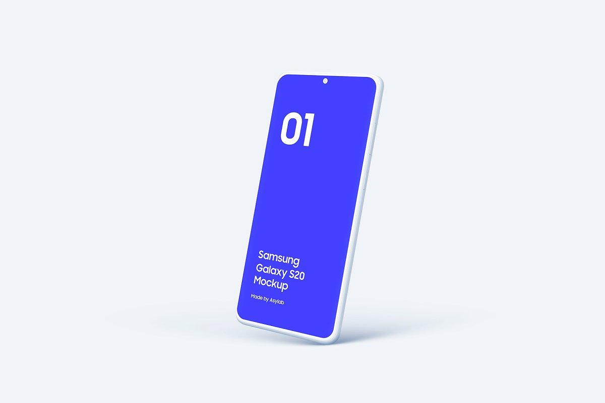 20个陶瓷粘土三星Galaxy S20手机屏幕演示PSD样机模板 Galaxy S20 – 20 Mockups Clay Scenes插图(34)