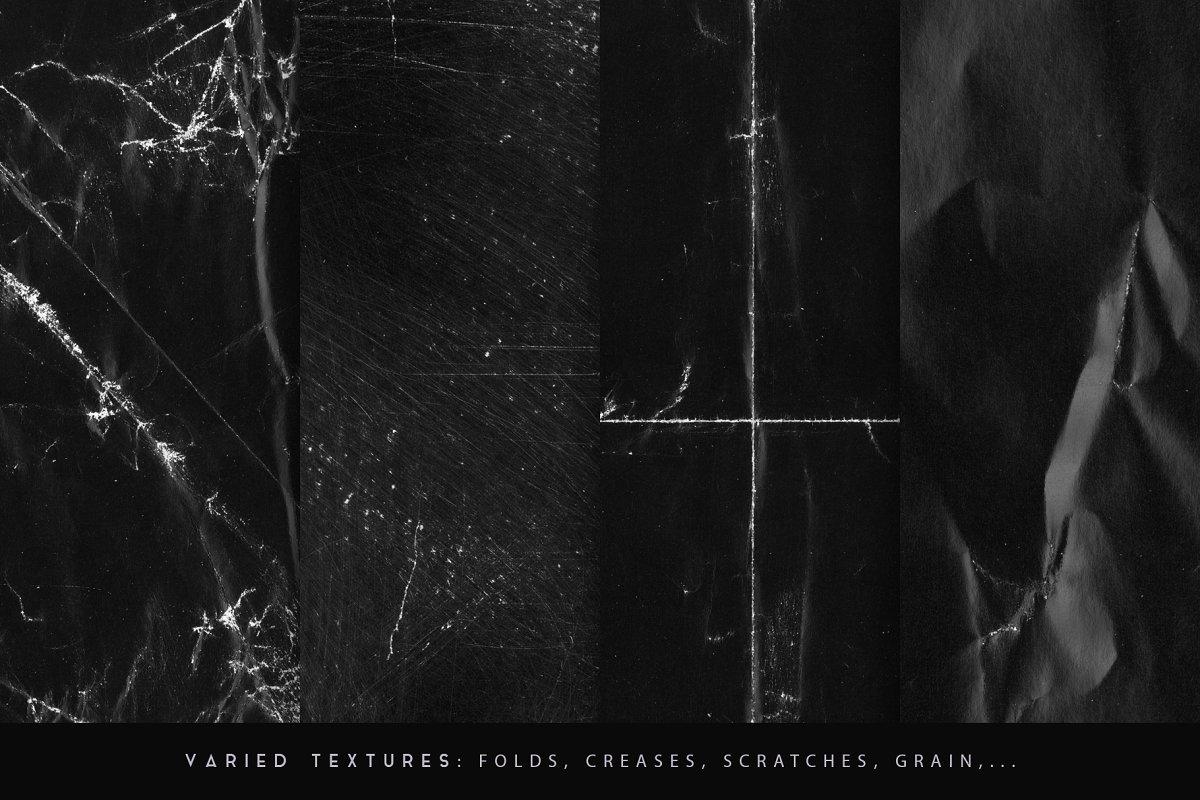 30款黑色褶皱粗糙纸张纹理 Black Paper Textures插图(4)