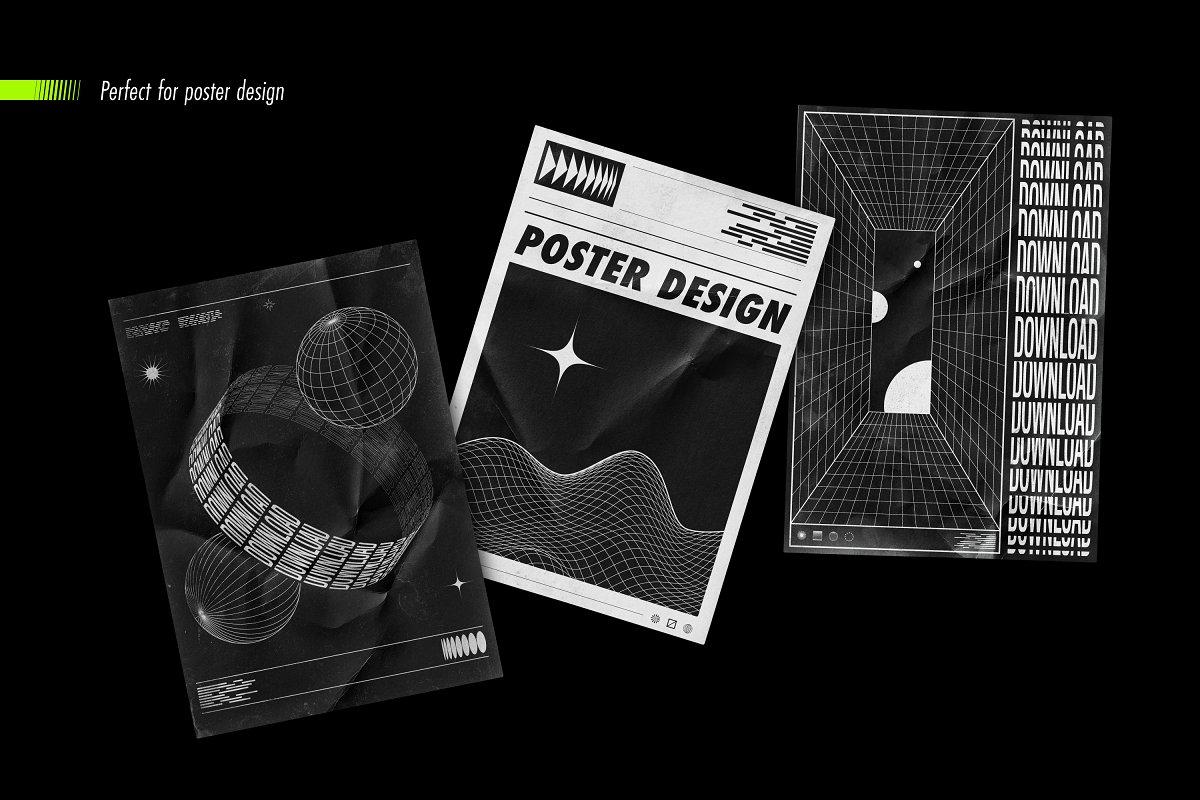 [淘宝购买] 100款潮流抽象矢量几何图形设计素材 Abstract Shapes: 100 Design Elements插图(10)