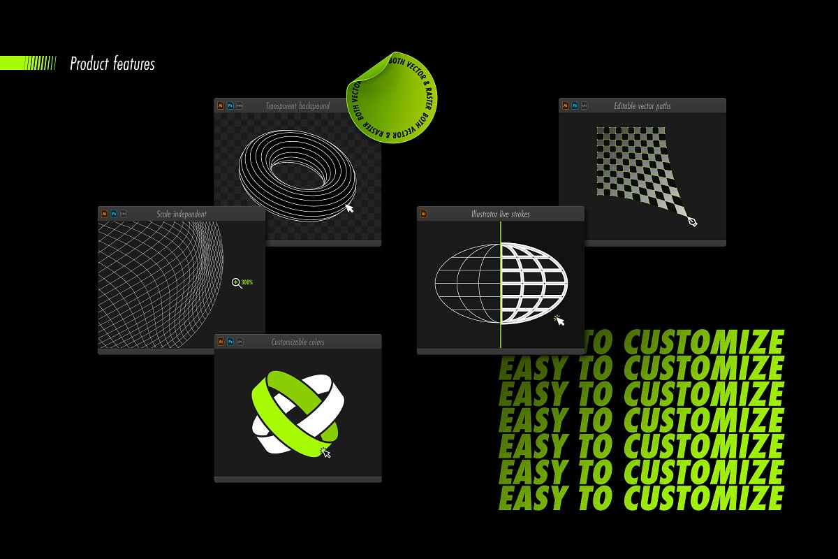 [淘宝购买] 100款潮流抽象矢量几何图形设计素材 Abstract Shapes: 100 Design Elements插图(13)