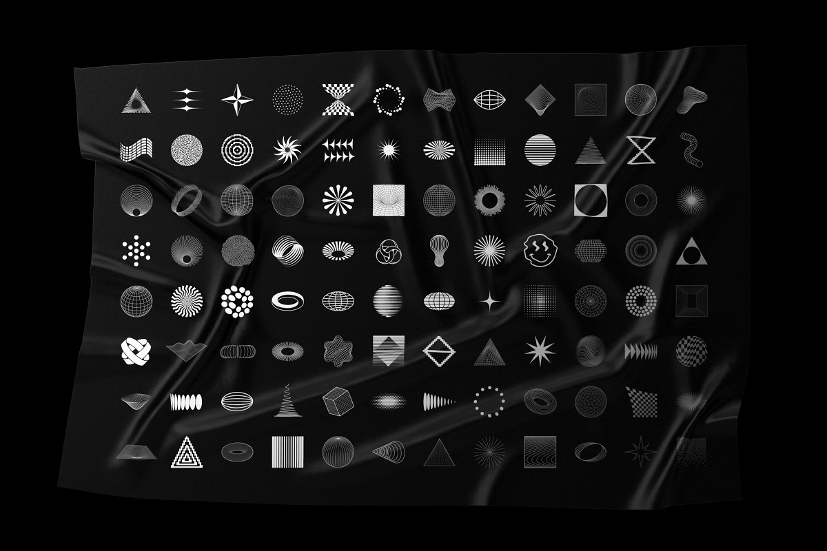 [淘宝购买] 100款潮流抽象矢量几何图形设计素材 Abstract Shapes: 100 Design Elements插图(16)