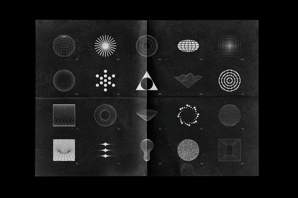 [淘宝购买] 100款潮流抽象矢量几何图形设计素材 Abstract Shapes: 100 Design Elements插图(3)