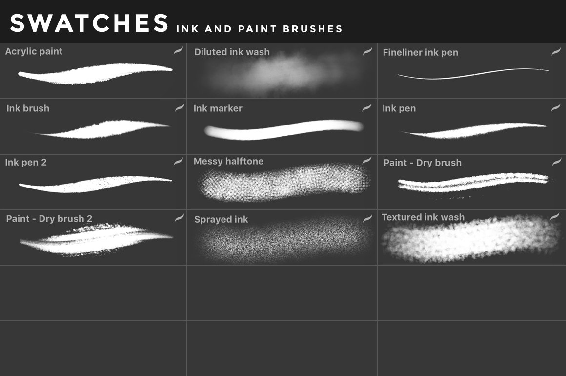 [淘宝购买] 400多款绘画画笔iPad Procreate笔刷套装 Procreate Brushes Bundle插图(23)