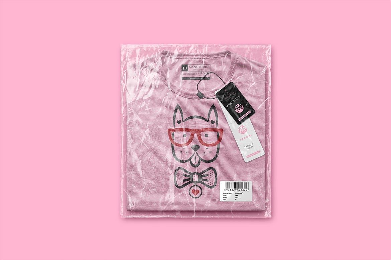 潮流带塑料袋T恤品牌样机模板 Packaged T-Shirt Scene Mockup插图(2)