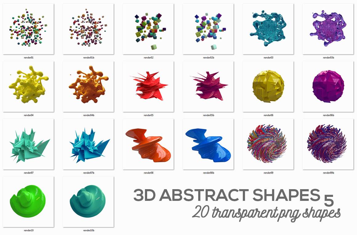 20个创意抽象科幻几何3D图形纹理素材 3D Abstract Shapes 5插图(3)