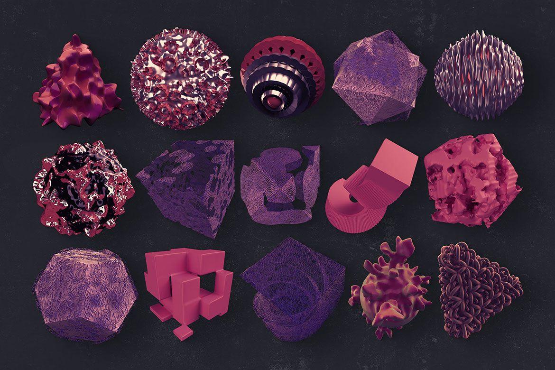 30个创意抽象科幻3D图形纹理素材 3D Abstract Shapes 17插图(4)