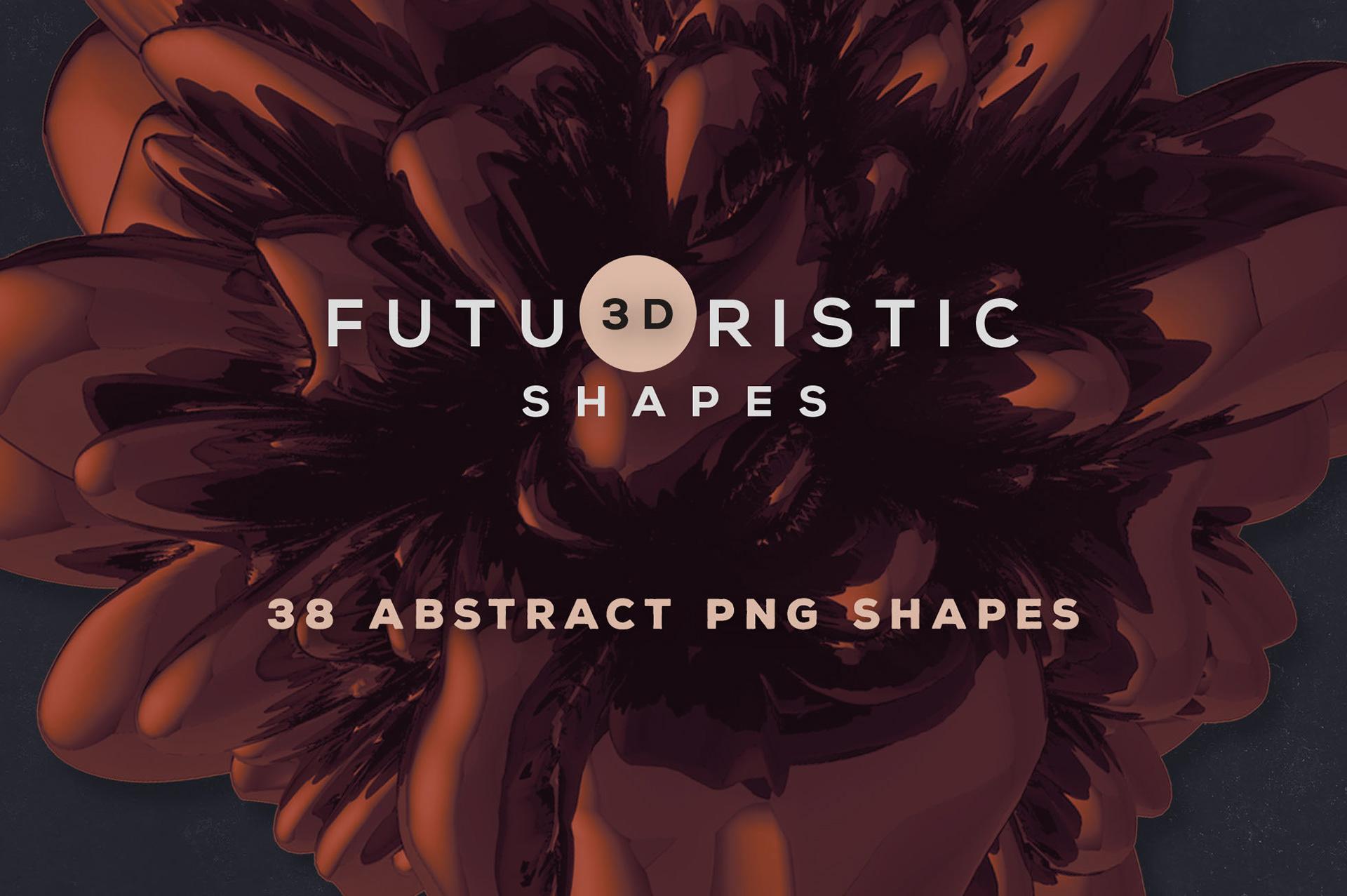 38个创意抽象3D科幻金属图形纹理素材 3D Abstract Shapes 16插图(4)