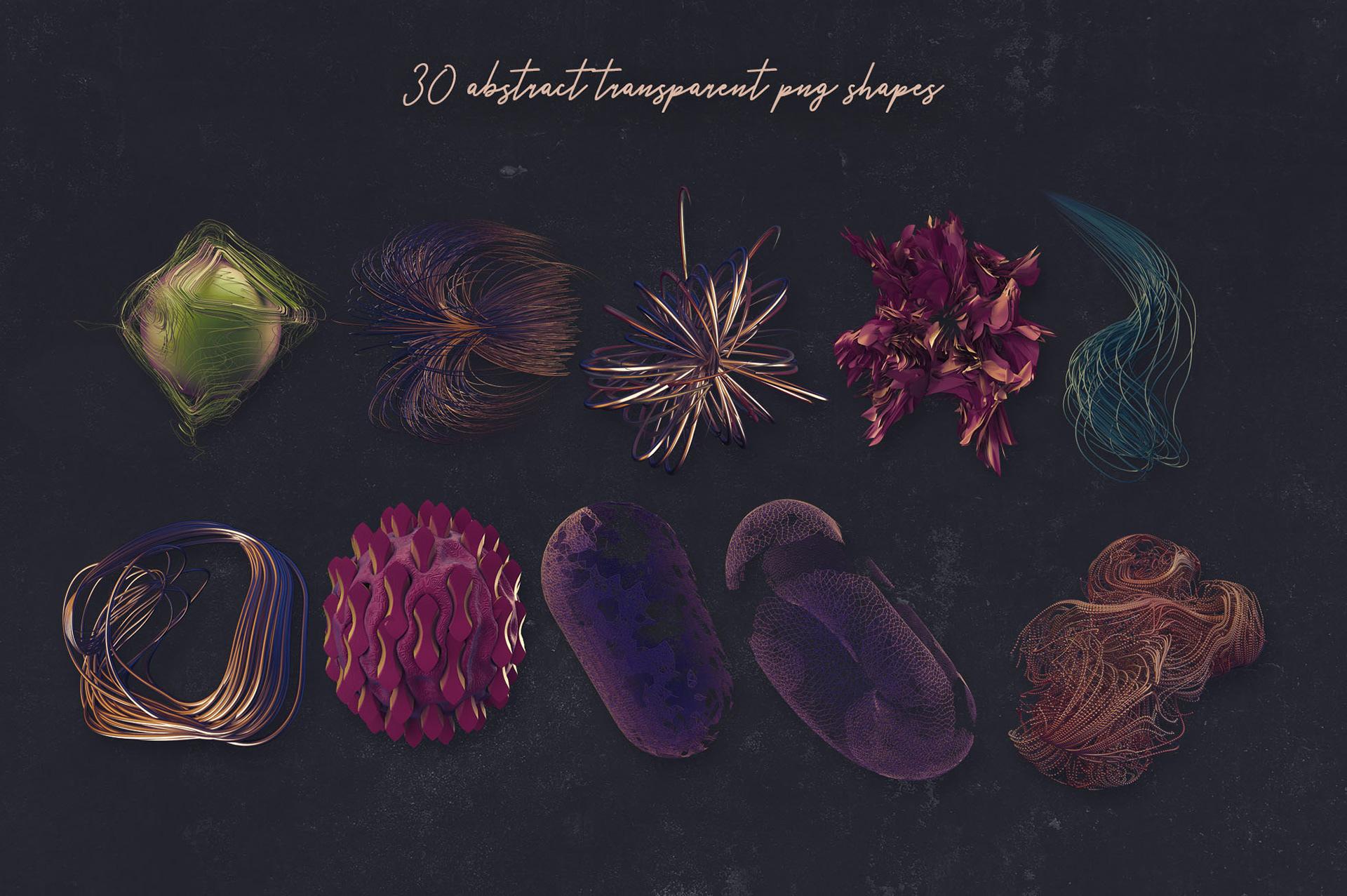 30个创意抽象科幻3D图形纹理素材 3D Abstract Shapes 15插图(5)