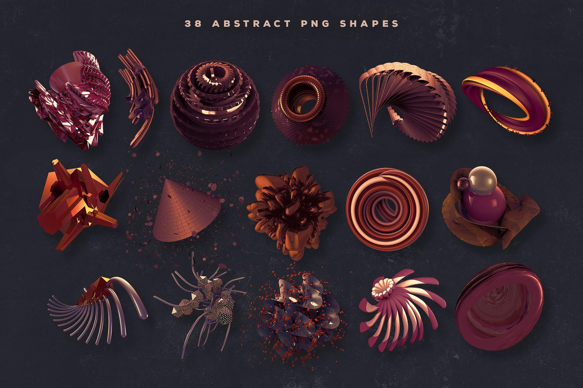 38个创意抽象3D科幻金属图形纹理素材 3D Abstract Shapes 16插图(5)